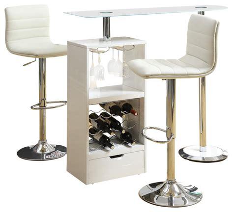 glass pub table set glass top 3 pc stemware storage wine rack bar table stools