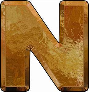 Presentation Alphabets: Gold Leaf Letter N