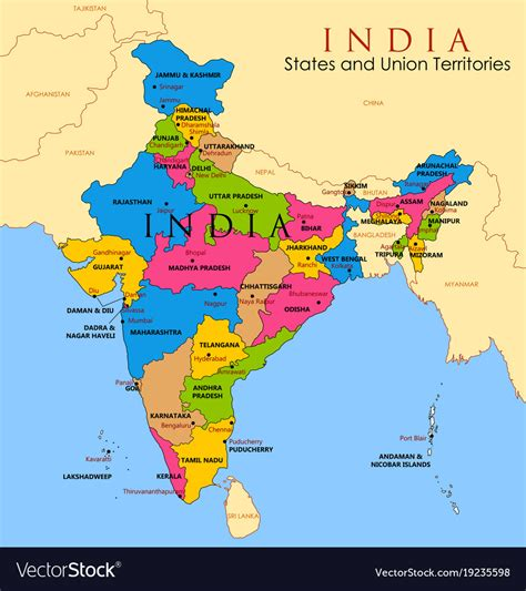 detailed map  india asia   states  vector image