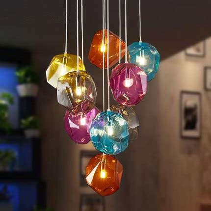 colorful pendant lights colorful glass modern pendant light 9 lights nordic