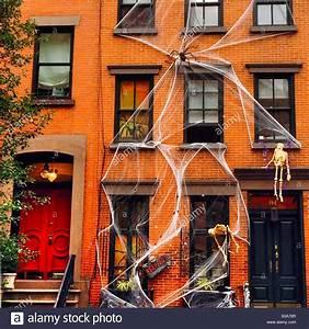 Halloween Decorations in Chelsea, New York City Stock
