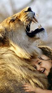 Lion, 4k, Wallpaper, Cute, Girl, Cute, Child, Laughing, Roaring, Wild, Adorable, Animals, 1124