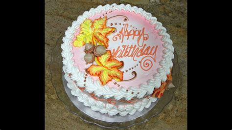Cake Decoration - cake decorating fall leaves design piped on tutorial