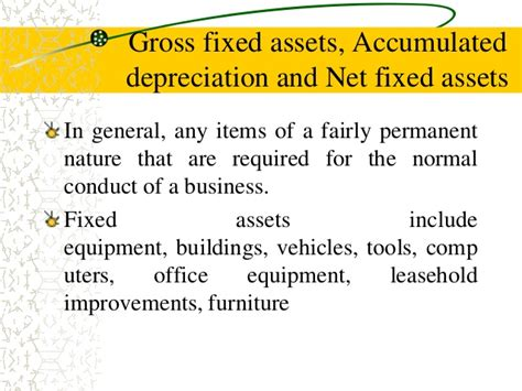depreciation of fixed asset balance sheet