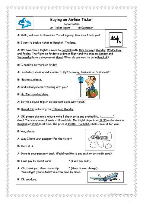 buying an airline ticket worksheet free esl printable