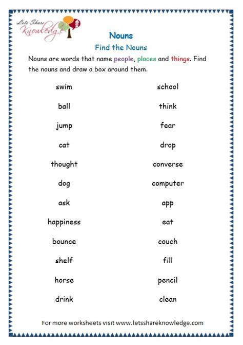 grade 3 grammar topic 6 nouns worksheets lets