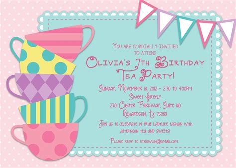 a birthday invitation tea party invitations a blog about tea party invitations