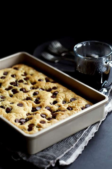 Gently mix half the sour cream into the batter, then pour half the batter into your prepared cake pan. Chocolate Chip Sour Cream Coffee Cake - Melanie Makes