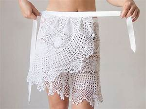 Crochet beach wrap white skirt Upcycled from by ...
