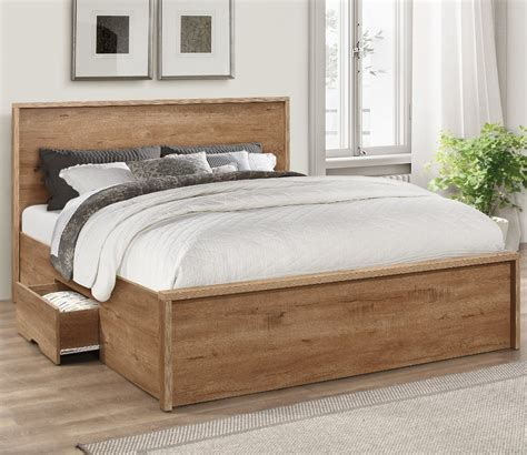 stockwell oak wooden storage bed