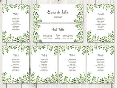 watercolor wedding seating chart template lovely leaves
