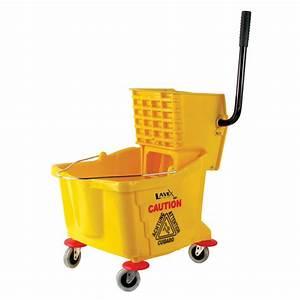 Yellow Mop Bucket with Wringer floor mops and buckets