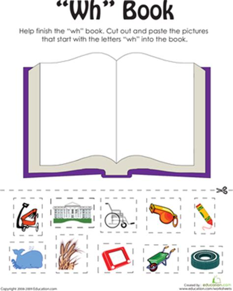 quot wh quot words a word family book worksheet education