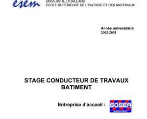 Exemple rapport de stage conducteur travaux batiment