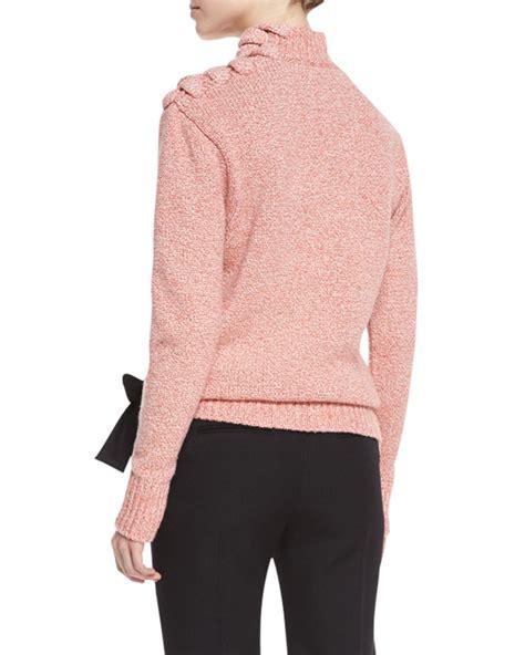 pink the shoulder sweater beckham melange knit lace up shoulder sweater in