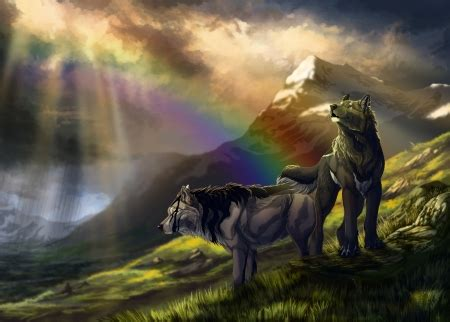 Anime Rainbow Wolf Wallpaper by Wolves Abstract Background Wallpapers On