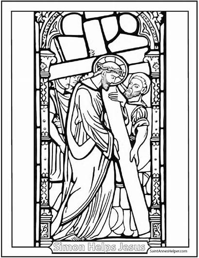 Cross Stations Catholic Carrying Coloring Pages Stained
