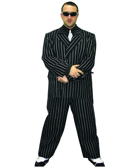 Adult Pinstripe Gangster Halloween Costume -1920s Men Costumes