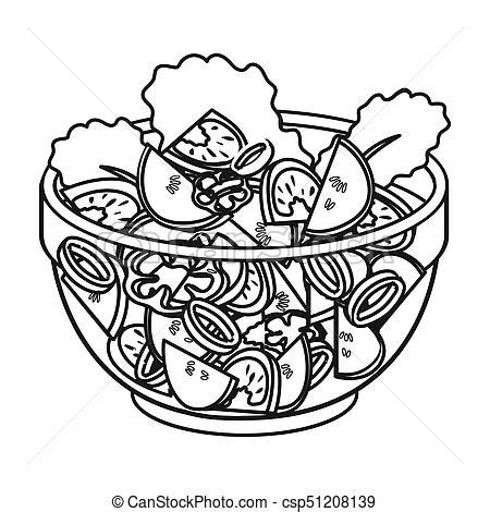 salad clipart black and white delicious vegetable salad vegetarian food single icon in