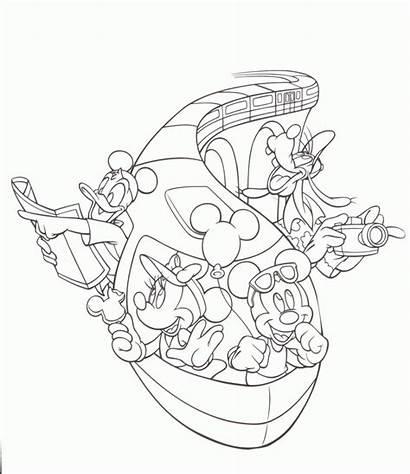 Disney Coloring Pages Disneyland Walt Monorail Kingdom