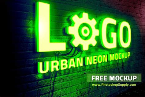 Free for personal and commercial use. (FREE) Neon Sign Mockup - Photoshop Supply