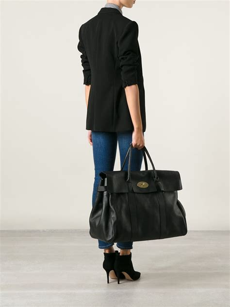 lyst mulberry oversized bayswater bag  black