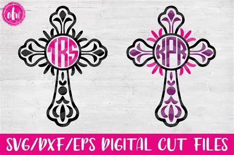 Svg designs | we feature digital svg & dxf cut files for cricut, silhouette and all major cutting heart shape three letter monogram, svg fonts, monogram svg, cut files for cricut. Monogram Flourish Cross Set - SVG, DXF, EPS Cut File ...
