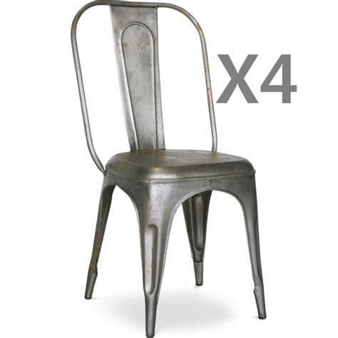 chaises metal lot de 4 chaises métal argent mat effet vieilli vintage