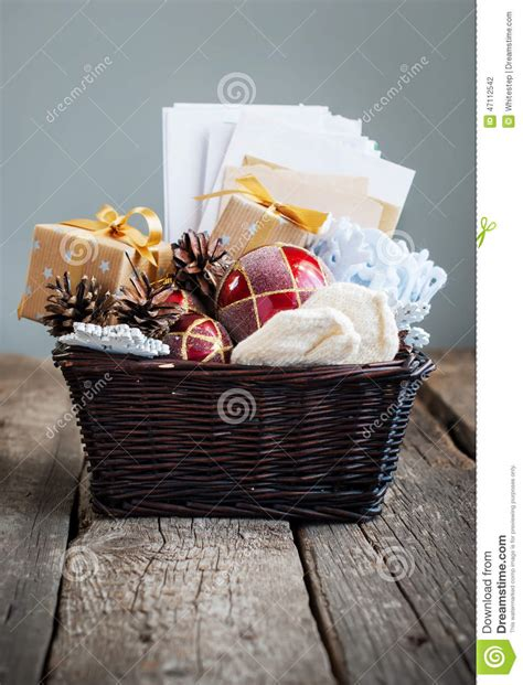 Christmas Vintage Gifts In A Basket Country Style Stock