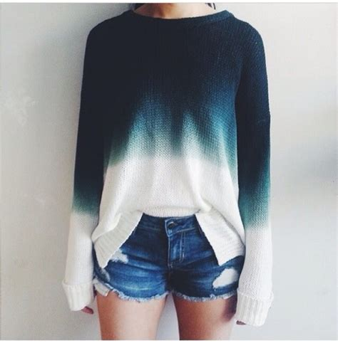 ombre sweater sweater ombre knitwear knit sleeves shirt blue
