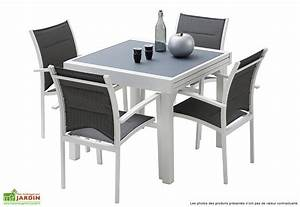 Table De Jardin : salon de jardin modulo table extensible 4 fauteuils 5 coloris wilsa ~ Teatrodelosmanantiales.com Idées de Décoration