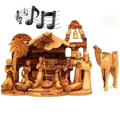 Musical Olive Wood Nativity Set from Bethlehem   Silent