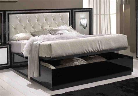 conforama meubles cuisine lit coffre krystel laque bicolore noir blanc