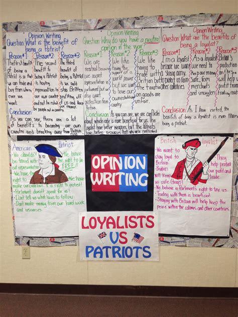 loyalist  patriots group opinion writing activity