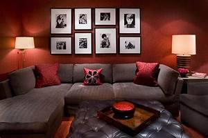 Dark Red Living Room Walls With Decor 2017 And Brown Photo
