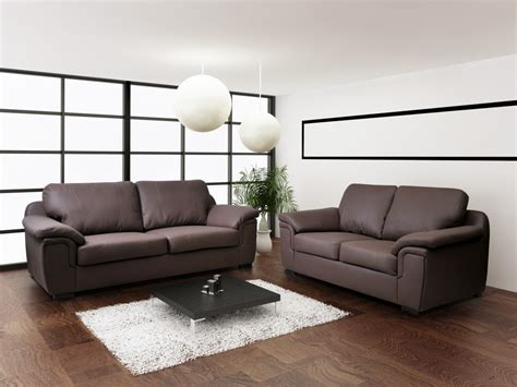 Brown Leather Sofa Set by Faux Leather Sofa Set 3 2 Set Brown