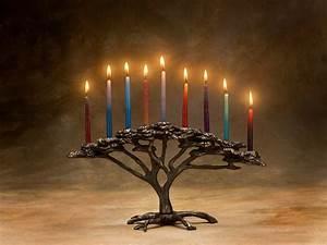 Tree of Life Menorah Cast Bronze 9 Candle for Hanukkah or