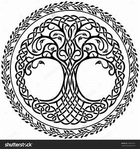 Vector Ornament, Decorative Celtic Tree Of Life With ...