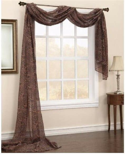 Drape Scarf - animal leopard brown scarf sheer window treatment curtain