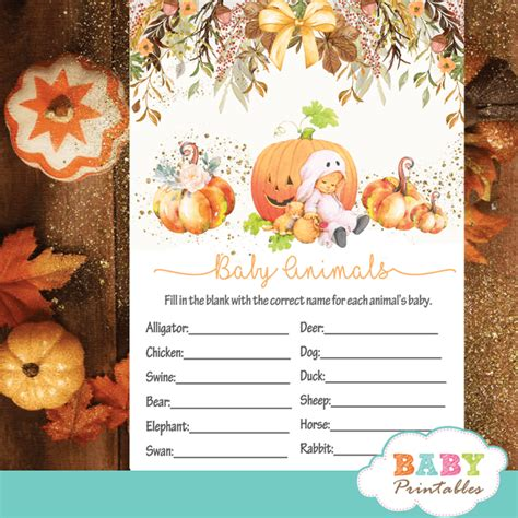 pumpkin baby shower games fall theme  baby printables