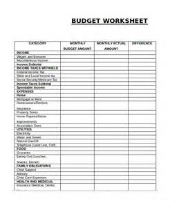 Sle Of Budget Sheet by Printable Budget Worksheet Template 11 Free Word Excel
