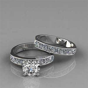 Round cut engagement ring and wedding band set for Wedding ring engagement ring set