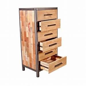 Maison Du Monde Chiffonnier : commode chiffonnier bois recycl 6 tiroirs 62x49x129cm caravelle ~ Teatrodelosmanantiales.com Idées de Décoration