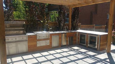 cedar wood finish  outdoor kitchen