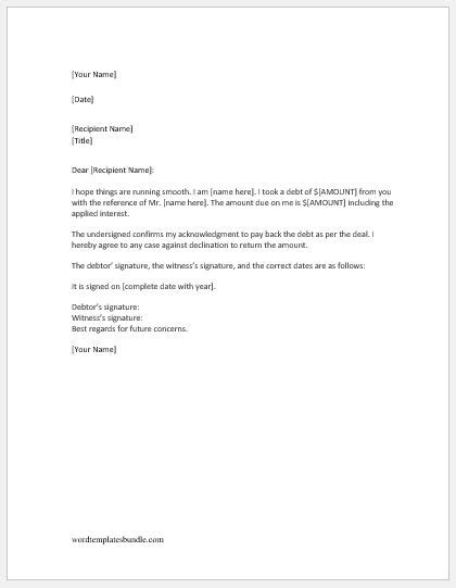Debt Acknowledgment Letter Sle Formal Word Templates Debt Acknowledgment Letter Sle Formal Word Templates