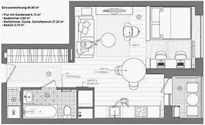 Quadratmeter Berechnen Wohnung : kleine wohnung modern und funktionell einrichten 1 zimmer apartment grundriss bbb pinterest ~ Themetempest.com Abrechnung