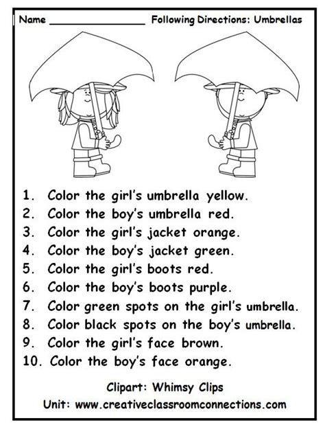 Following Directions With Color Words Is A Fun Practice Activity View Other Primary Units And