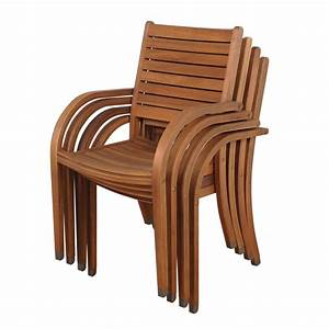 Shop International Home Set of 4 Amazonia Slat Seat Wood
