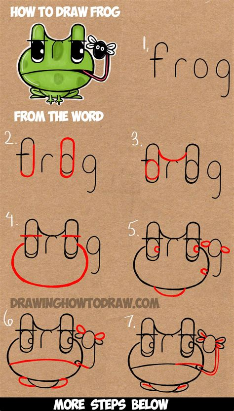 draw cartoon frogs   word frog easy step
