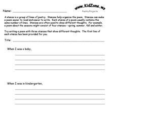 poetry stanzas worksheet    grade lesson planet